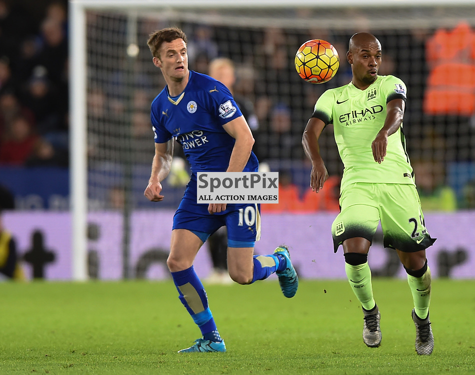 Fernandinho and Andy King contest a loose ball (c) Simon Kimber | SportPix.org.uk