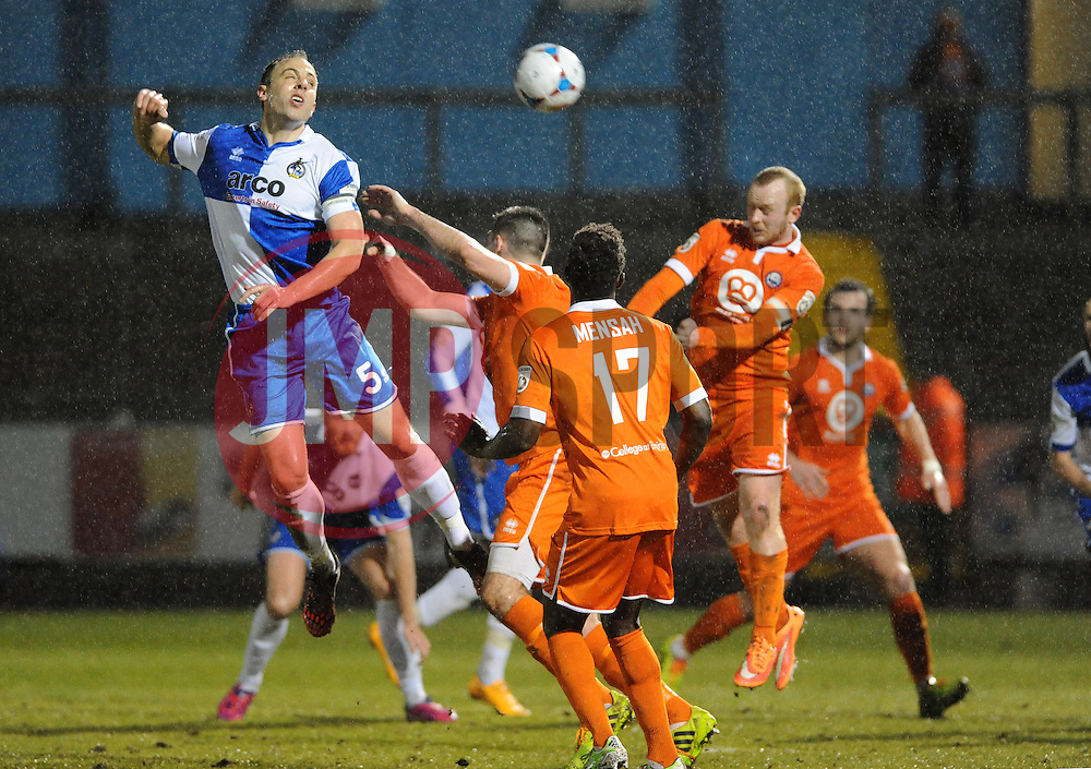 Bristol Rovers' Mark McCrystal gets a header away - Photo mandatory by-line: Neil Brookman/JMP - Mobile: 07966 386802 - 24/02/2015 - SPORT - Football - Bristol - Memorial Stadium - Bristol Rovers v Braintree - Vanarama Football Conference