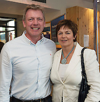 22/07/2015 repro free  Fergus Conlon and his wife Emer at the Ulster Bank sponsored evening at The Galway International Arts Festival's production of Frank McGuinnesses'  The Match Box, starring Cathy Belton At the Town Hall Theatre. Photo:Andrew Downes.