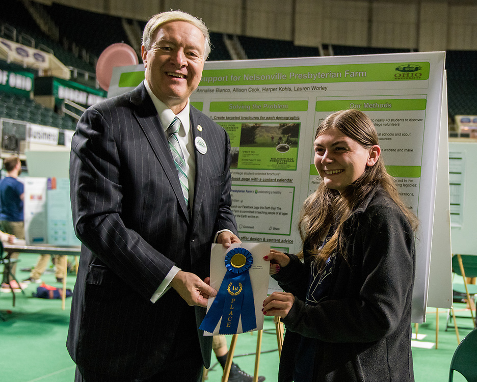 Allison Cook poses for a picture with Ohio University President Duane Nellis during the 2018 Student Research Expo.
