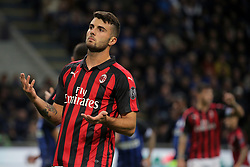 October 21, 2018 - Milan, Milan, Italy - Patrick Cutrone #63 of AC Milan reacts to a missed chance during the serie A match between FC Internazionale and AC Milan at Stadio Giuseppe Meazza on October 21, 2018 in Milan, Italy. (Credit Image: © Giuseppe Cottini/NurPhoto via ZUMA Press)