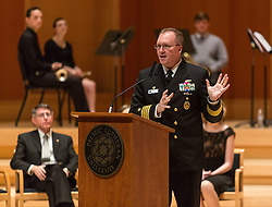 Cpt. Alan Schrader, Commanding Officer, Naval Base Kitsap, speaking during the Veterans Day ceremony at PLU, Friday, Nov. 11, 2016. (Photo: John Froschauer/PLU)