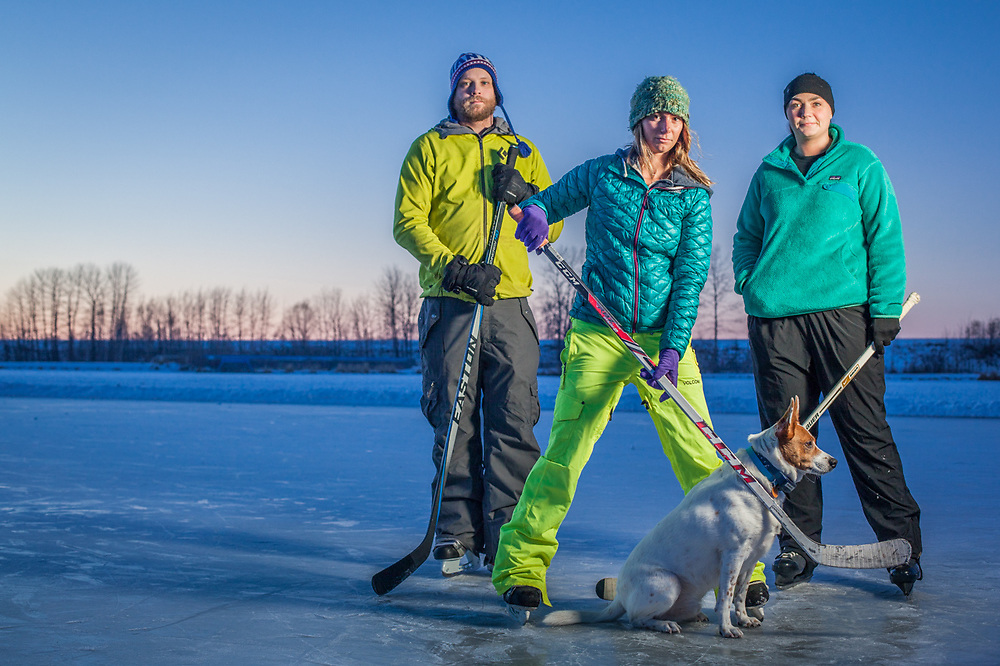 UAA Business Administration student and Moose's Tooth bartender Roy Clanton with friends Kristen Englund and Nori Dixon and his dog, LeBron, at Westchester Lagoon, Anchorage  thegreatwan@hotmail.com