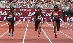 July 21, 2018 - London, United Kingdom - L-R Shelly-Ann Fraser-Pryce of Jamaica Dezerea Bryant of USA and Jonielle Smith of Jamaica compete in the 100m Women Final during the Muller Anniversary Games IAAF Diamond League Day One at The London Stadium on July 21, 2018 in London, England. (Credit Image: © Action Foto Sport/NurPhoto via ZUMA Press)
