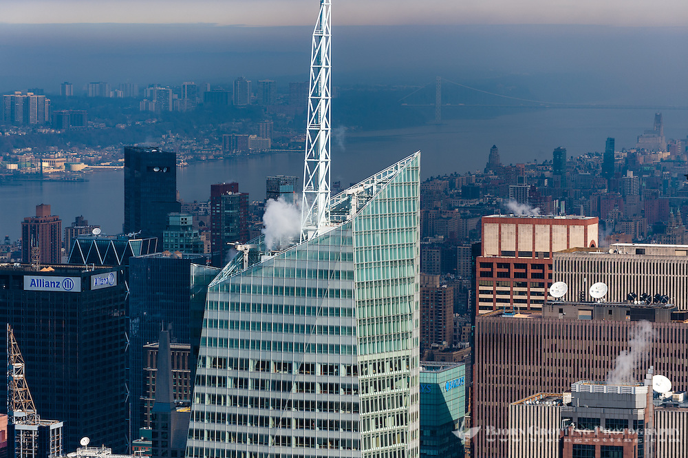 US, New York City. View from the Empire State Building observation deck. Bank of America Tower.
