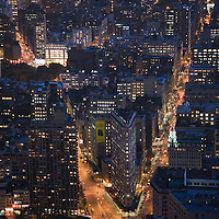 The Flatiron building by night from the Empire State Building, NYC, USA