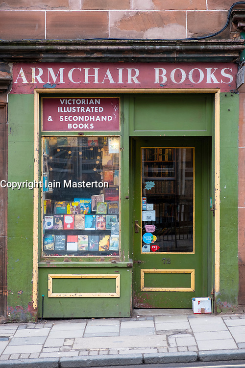Armchair Books second hand bookshop in Edinburgh Old Town , Scotland, United Kingdom