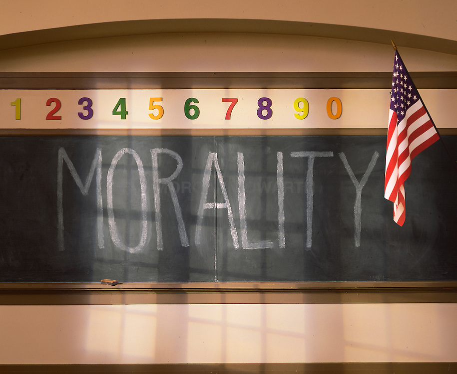 Morality school chalk board