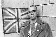 Symond with Union Jack graffiti and t-shirt. UK, 1980s.