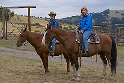United States, Montana, Livingston, women on horses at dude ranch  MR