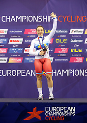 Russia's Daria Shmeleva on the podium after winning the Gold Medal in the Womens Sprint Final during day four of the 2018 European Championships at the Sir Chris Hoy Velodrome, Glasgow. PRESS ASSOCIATION Photo. Picture date: Sunday August 5, 2018. See PA story CYCLING European. Photo credit should read: Jane Barlow/PA Wire. RESTRICTIONS: Editorial use only, no commercial use without prior permission