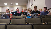 Learning community students listen to the beginning of a lecture on study skills in Schoonover Center on October 1, 2015. Photo by Emily Matthews