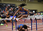 Mar 5, 2017; Albuquerque, NM, USA; Kendra Harrison aka Keni Harrison wins the women's 60m hurdles in 7.81 during the USA Indoor Championships at the Albuquerque Convention Center.