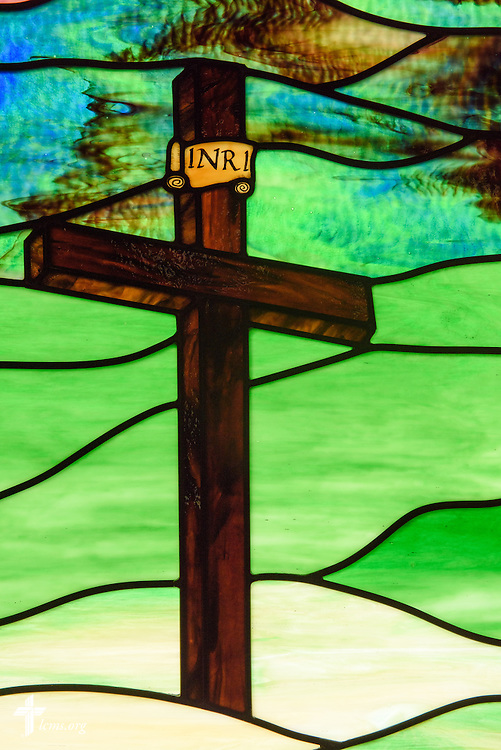 Stained glass of the Cross at Mount Olive Lutheran Church, on Thursday, March 3, 2016, in Loveland, Colo. LCMS Communications/Erik M. Lunsford