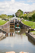Caen Hill flight of locks on the Kennet and Avon canal Devizes, Wiltshire, England