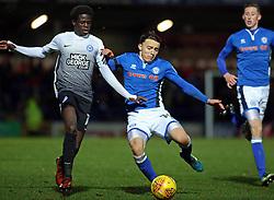 Ollie Rathbone of Rochdale tackles Leonardo Da Silva Lopes of Peterborough United - Mandatory by-line: Joe Dent/JMP - 25/11/2017 - FOOTBALL - Crown Oil Arena - Rochdale, England - Rochdale v Peterborough United - Sky Bet League One