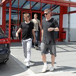 08.05.2013, Saebener Strasse, Muenchen, GER, 1. FBL, FC Bayern Muenchen, Training, im Bild Philipp LAHM (FC Bayern Muenchen), Torwart Manuel NEUER (FC Bayern Muenchen) und Bastian SCHWEINSTEIGER (FC Bayern Muenchen) verlassen die Geschaeftsstelle des FC Bayern an der Saebener Strasse // during a Trainingssession of the German Bundesliga Club FC Bayern Munich at the Saebener Strasse, Munich, Germany on 2013/05/08. EXPA Pictures © 2013, PhotoCredit: EXPA/ Eibner/ Wolfgang Stuetzle..***** ATTENTION - OUT OF GER *****