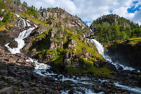 Norway, Odda. Låtefossen waterfall.