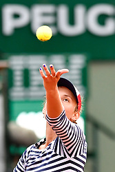 PARIS, June 3, 2017  Elise Mertens of Belgium serves during the women's singles 3rd round match against Venus Williams of the U.S. at the French Open Tennis Tournament 2017 in Paris, France on June 2, 2017. Venus Williams won 2-0. (Credit Image: © Chen Yichen/Xinhua via ZUMA Wire)