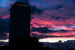 August 4, 2017 - London, England, United Kingdom - A colorfoul sunset is seen in East London above the Crossways Estate builgings, London on August 4, 2017. The Crossways estate (also known as the Devons Estate) is a 1970s council estate in the Bow area of London. (Credit Image: © Alberto Pezzali/NurPhoto via ZUMA Press)