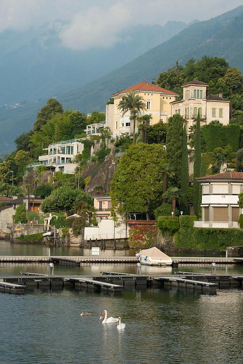 Europe; Switzerland; Ticino; Ascona, lago maggiore, lakefront