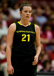 February 18, 2010; Stanford, CA, USA; Oregon Ducks guard/forward Victoria Kenyon (21) during the first half against the Stanford Cardinal at Maples Pavilion. Stanford defeated Oregon 104-60.