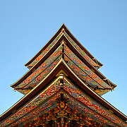 The underside of the painted rafters of the Three Storied Pagoda. Standing 25 meters tall, it was originally built in 1712. It is ornately decorated with brightly painted rafters, carved dragons, and sculptures of 16 RAKAN or Buddha's disciples how attained Nirvana. On the first floor's inner sanctum is GOCHI-NYORAI (Five Tathagas) who is believed to be endowed with the five wisdoms of Buddha. The Narita-san temple, also known as Shinsho-Ji (New Victory Temple), is Shingon Buddhist temple complex, was first established 940 in the Japanese city of Narita, east of Tokyo.