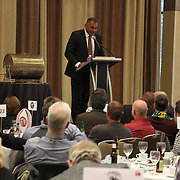 "NZ All Black former players Eric Rush, Frank Bunce, Charles Reichelmann, were honored guests among NZ and USA rugby fans at the pre-game ""Lost Afternoon Rugby Luncheon"" at the Chicago Hyatt Regency Hotel, Chicago, Illinois.  Photo by Barry Markowitz, 10/31/14, 2pm"
