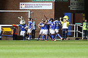 Peterborough United striker Tom Nichols (21) scores 3-2 and celebrates during the EFL Cup match between Peterborough United and AFC Wimbledon at ABAX Stadium, Peterborough, England on 9 August 2016. Photo by Stuart Butcher.