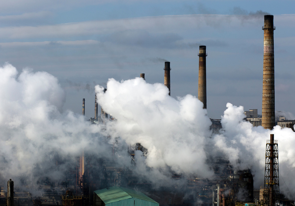 The Metinvest Coke Plant is seen on March 18, 2015 in Avdiivka, Ukraine. Shells have hit the property of the plant over 150 times, including multiple hits on the plant itself.