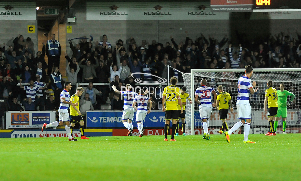 QPR's Sebastian Polter (17) scores for QPR to make the score 1-1 during the EFL Sky Bet Championship match between Burton Albion and Queens Park Rangers at the Pirelli Stadium, Burton upon Trent, England on 27 September 2016. Photo by Richard Holmes.