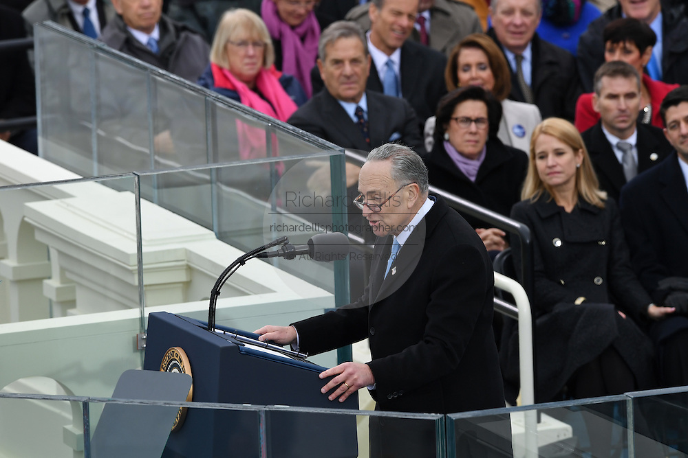New York Democratic Sen. Chuck Schumer delivers remarks at the inauguration of President Donald Trump during the 68th Inaugural ceremony January 20, 2017 in Washington, DC. Donald Trump became the 45th President  of the United States of America.