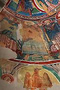 Detail of Mural Painting in the northern abside of Sant Climent de Taull church, 1123, consecrated by Ramon Guillem, the bishop of Roda, Taull, Province of Lleida, Catalonia, Spain. The murals were removed to the MNAC (National Art Museum of Catalonia, Barcelona) in 1922, to prevent the theft of the murals. The murals, which are frescos, were removed by painting them with horsehide glue and then peeling off the hardened glue, carrying the pigments of the mural with it. Picture by Manuel Cohen.