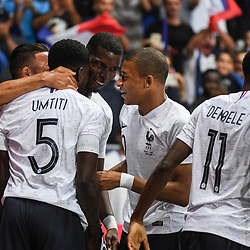 Samuel Umtiti of France celebrates his goal with his team mates during the International Friendly match between France and Italy at Allianz Riviera Stadium on June 1, 2018 in Nice, France. (Photo by Anthony Dibon/Icon Sport)