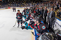KELOWNA, CANADA - OCTOBER 10:  Conner Bruggen-Cate #20 of the Kelowna Rockets celebrates a goal with fist bumps past the bench against the Seattle Thunderbirds on October 10, 2018 at Prospera Place in Kelowna, British Columbia, Canada.  (Photo by Marissa Baecker/Shoot the Breeze)  *** Local Caption ***