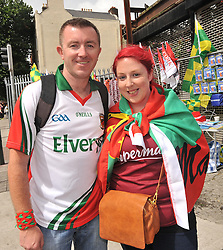 Brian Ruane from Bonniconlon and Karen Gerrard from Dunmore enjoyin the atmosphere at Croke Park on sunday.<br />Pic Conor McKeown
