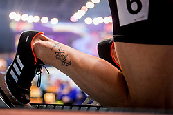 03-03-2018 GBR: World Indoor Championships Athletics day 3, Birmingham<br /> Oscar Husillos ESP werd winnaar maar werd later gediskwalificeerd. Tattoo