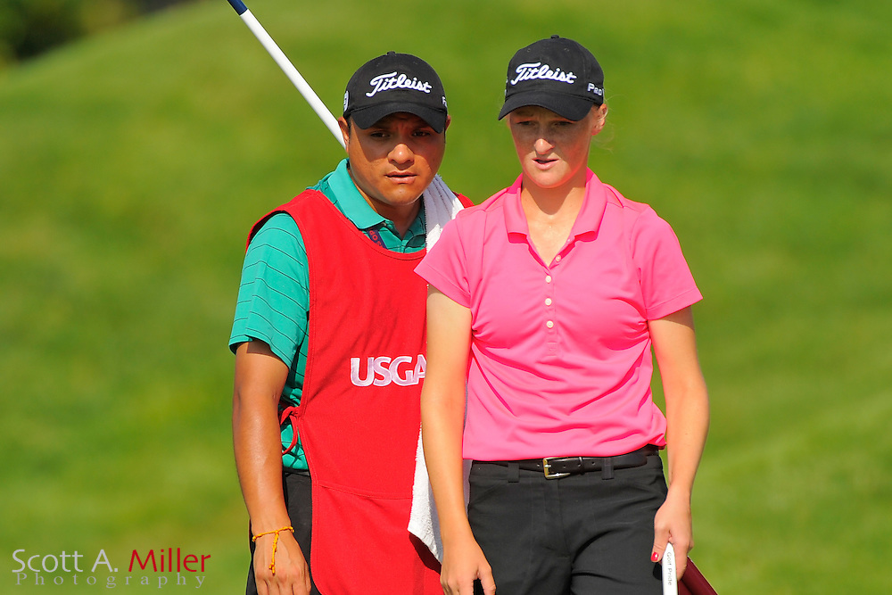 Aimee Neff and her caddie during the first round for the US Women's Open at Blackwolf Run on July 5, 2012 in Kohler, Wisconsin. ..©2012 Scott A. Miller