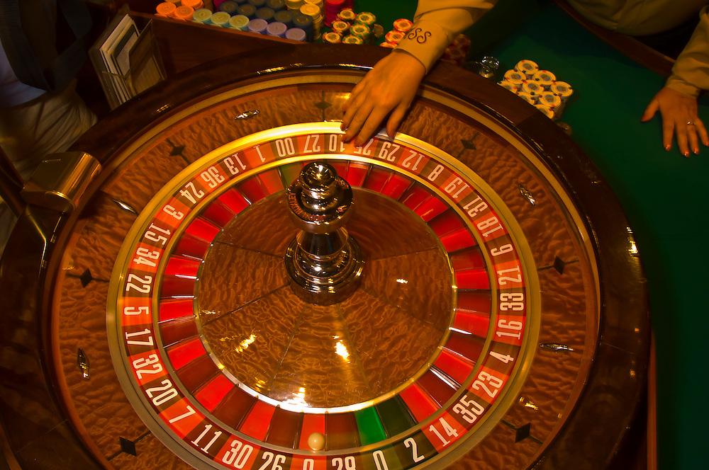 Roulette wheel, Main Street Station Casino, Las Vegas, Nevada USA