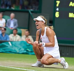 LONDON, ENGLAND - Tuesday, July 1, 2014: Angelique Kerber (GER) celebrates during the Ladies' Singles 4th Round match on day eight of the Wimbledon Lawn Tennis Championships at the All England Lawn Tennis and Croquet Club. (Pic by David Rawcliffe/Propaganda)