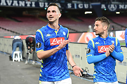March 7, 2019 - Naples, Naples, Italy - Fabian Ruiz and Dries Mertens of SSC Napoli during the UEFA Europa League match between SSC Napoli and RB Salzburg at Stadio San Paolo Naples Italy on 7 March 2019. (Credit Image: © Franco Romano/NurPhoto via ZUMA Press)