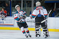 KELOWNA, CANADA - DECEMBER 27:  Zach Franko #9 and Jackson Whistle #1 of the Kelowna Rockets celebrate a goal against the Kamloops Blazers at the Kelowna Rockets on December 27, 2012 at Prospera Place in Kelowna, British Columbia, Canada (Photo by Marissa Baecker/Shoot the Breeze) *** Local Caption ***