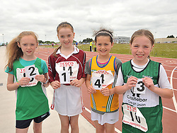 Girls Under 10 60m Hurdles 2nd Sarah Mulroy Westport, 1st Alannah McNicolas Balla, 4th Grace Bradley Ballinrobe and 3rd Tara Ryan Castlebar  at the Mayo Commmunity Games finals in Claremorris.<br /> Pic Conor McKeown