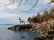 A solitary man contemplates the water at Lime Kiln Point State Park, San Juan Island, Washington, USA. Lime Kiln Lighthouse first shone in 1914, the last major light established in Washington. The name derived from lime kilns built nearby in the 1860s. The Coast Guard automated Lime Kiln Lighthouse in 1962 to turn on at dusk and off during day. Sitting on rocky shoreline at a height of 55 feet on Haro Strait, the beacon is visible for 17 miles.
