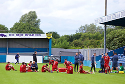 NUNEATON, ENGLAND - Sunday, July 30, 2017: Liverpool's players and staff show a look of dejection following a 1-3 defeat in a pre-season friendly between Liverpool and PSV Eindhoven at the Liberty Way Stadium. (Pic by Paul Greenwood/Propaganda)
