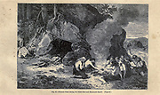 Funeral feast during Great Bear and mammoth epoch, according to the French illustrator Emile Bayard (1837-1891), illustration Artwork published in Primitive Man by Louis Figuier (1819-1894), Published in London by Chapman and Hall 193 Piccadilly in 1870