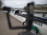 "Mortlake/Chiswick, GREATER LONDON. United Kingdom Oxford University Women's Boat  Club, OUWBC vs Molesey BC,  Pre Boat Race Fixture, 2017 Boat Race, The Championship Course, Putney to Mortlake on the River Thames. Some of the add ons to the racing shells to combat rough water and prevent swamping ""Electric Pumps""<br /> <br /> Sunday  19/03/2017<br /> <br /> [Mandatory Credit; Peter SPURRIER/Intersport Images]"