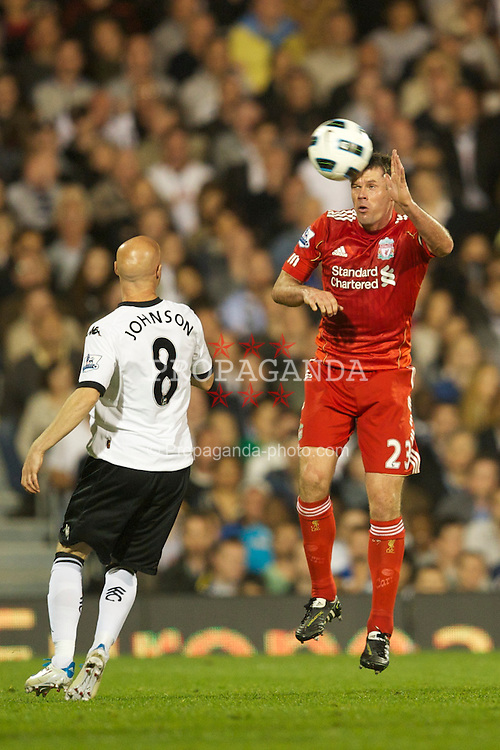 LONDON, ENGLAND - Monday, May 9, 2011: Liverpool's Jamie Carragher in action against Fulham during the Premiership match at Craven Cottage. (Photo by David Rawcliffe/Propaganda)