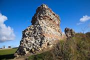 Brick work walls of Roman fort, Burgh Castle, Great Yarmouth, Norfolk, England