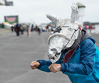 06/08/2017  Steve Parry Clarecastle  with horses head hat at the Mad Hatters competition  at the Galway Races on the last day of the Summer festival.  Andrew Downes, xposure